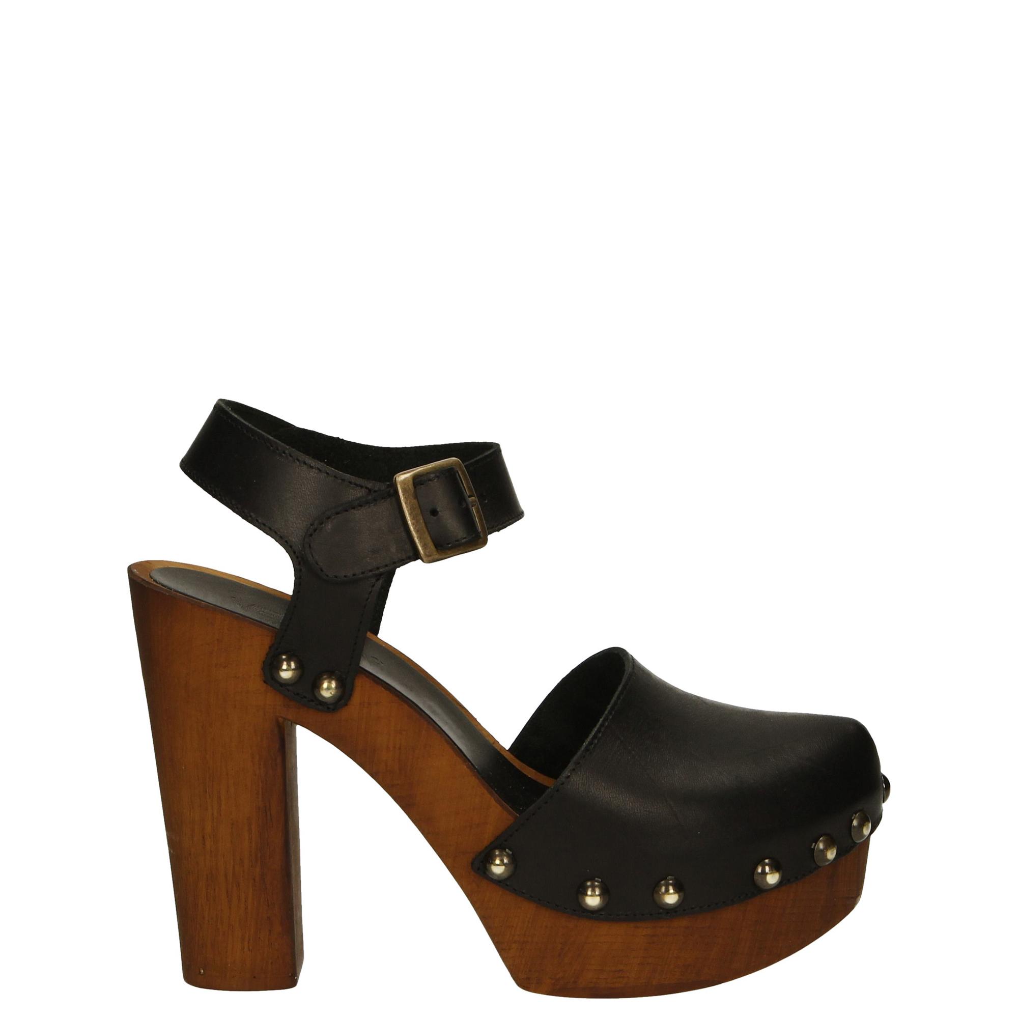 Sandały damskie • skórzane czarne drewniaki • venezia